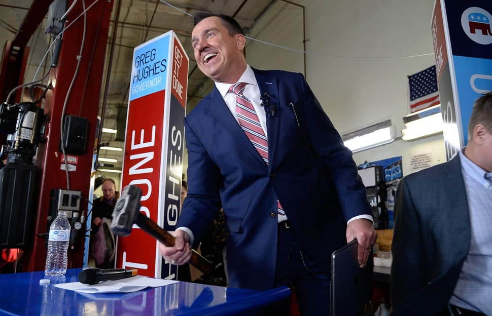 (Francisco Kjolseth | The Salt Lake Tribune) In reference to his time as former House Speaker Greg Hughes says we are adjourned, as he slams a hammer on a tool box following announcing his campaign for governor at Dee's Automotive in Murray on Wednesday, Jan. 8, 2020.