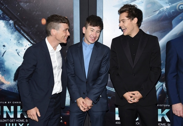 Cillian Murphy, from left, Barry Keoghan and Harry Styles attend the premiere of Warner Bros. Pictures'