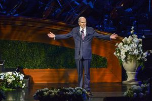 (Leah Hogsten   Tribune file photo) President Russell M. Nelson addresses the congregation at the close of the gala celebrating his 95th birthday in 2019. He plans to share a message of hope and healing to the world on Friday, Nov. 20, 2020.