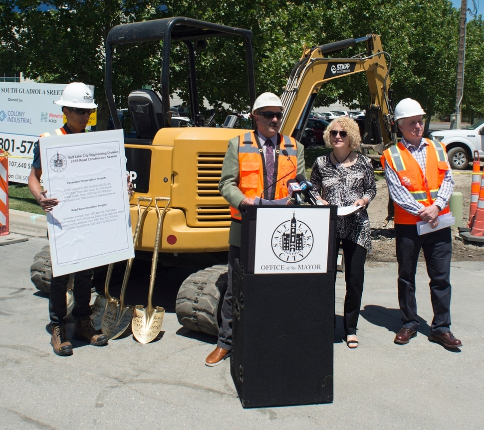 (Rick Egan | The Salt Lake Tribune) Matt Cassel, City Engineer, announces the start of the city's 2018 road construction season at a new conference at 720 South Gladiola Street. A total of ten projects are scheduled for completion by the City's Engineering Division through a combined investment of $5 million. Monday, June 11, 2018.