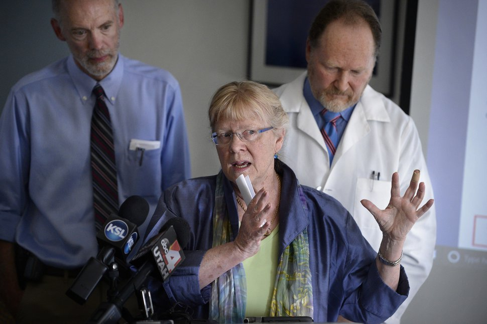 Scott Sommerdorf   The Salt Lake Tribune Dr. Robert Paine, UPHE Board Member and Professor of Internal Medicine and Chief of the Division of Respiratory, Critical Care and Occupational Pulmonary Medicine at the University of Utah School of Medicine, left, listens during a press conference, as Dr. Kirtly Jones, UPHE Board Member and Professor Emerita in the Department of Obstetrics and Gynecology at the University of Utah, center, speaks. UPHE Board President, Dr. Brian Moench, is at right, Wednesday, July 12, 2017. A study published in The New England Journal of Medicine, one of the largest studies of its kind to date involving 61 million people throughout the United States, strengthens the association between premature death and PM2.5 and ozone.