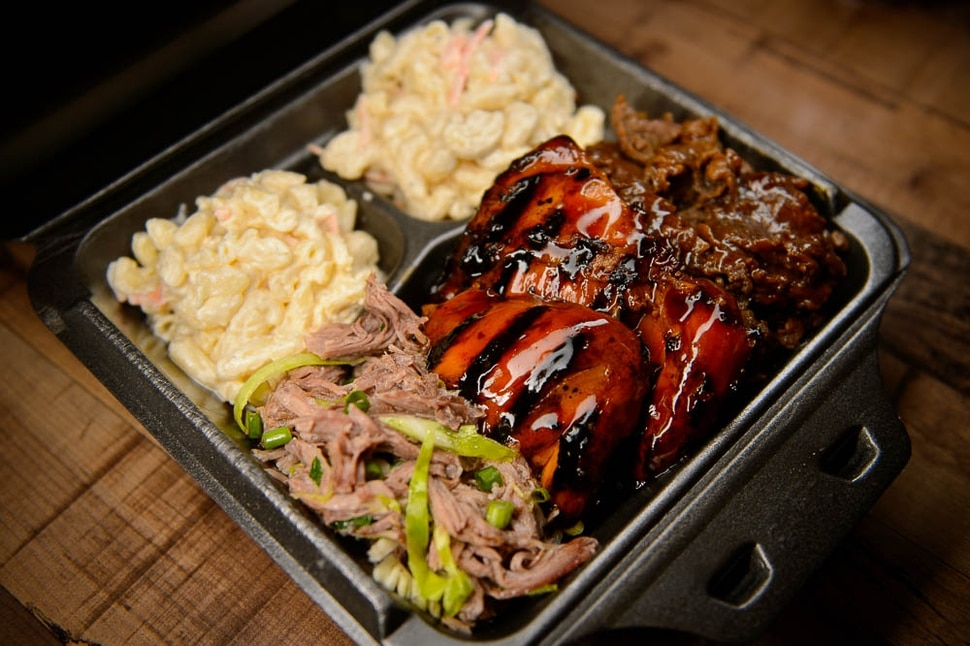 (Trent Nelson | The Salt Lake Tribune) Three-meat combination plate — teriyaki steak, teriyaki chicken and Kalua pork, at Sagato Bakery and Cafe, a new Polynesian eatery in Midvale. Tuesday Feb. 5, 2019.