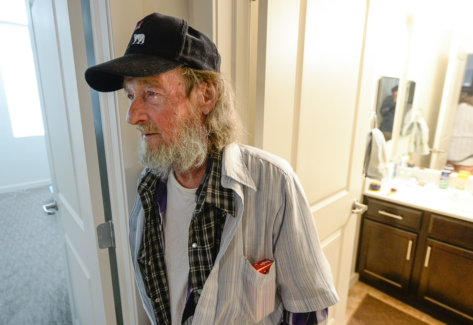 (Francisco Kjolseth | The Salt Lake Tribune) Richard Dornik, 74, who used to be homeless in Salt Lake talks about his one bedroom place at Sharon Gardens Apartments in South Salt Lake, where he has lived for the last year and a half. Out of the 58 one bedroom units provided, 45 are for low income people with the 13 remaining at the market rate cost in an effort to help find solutions to the homeless problem. As three homeless resource centers come online to replace the existing downtown community shelter, which is slated for closure in September of 2019, community leaders are encouraging Salt Lake area landlords to making units available to people who have been homeless in an effort to move people into stable housing.