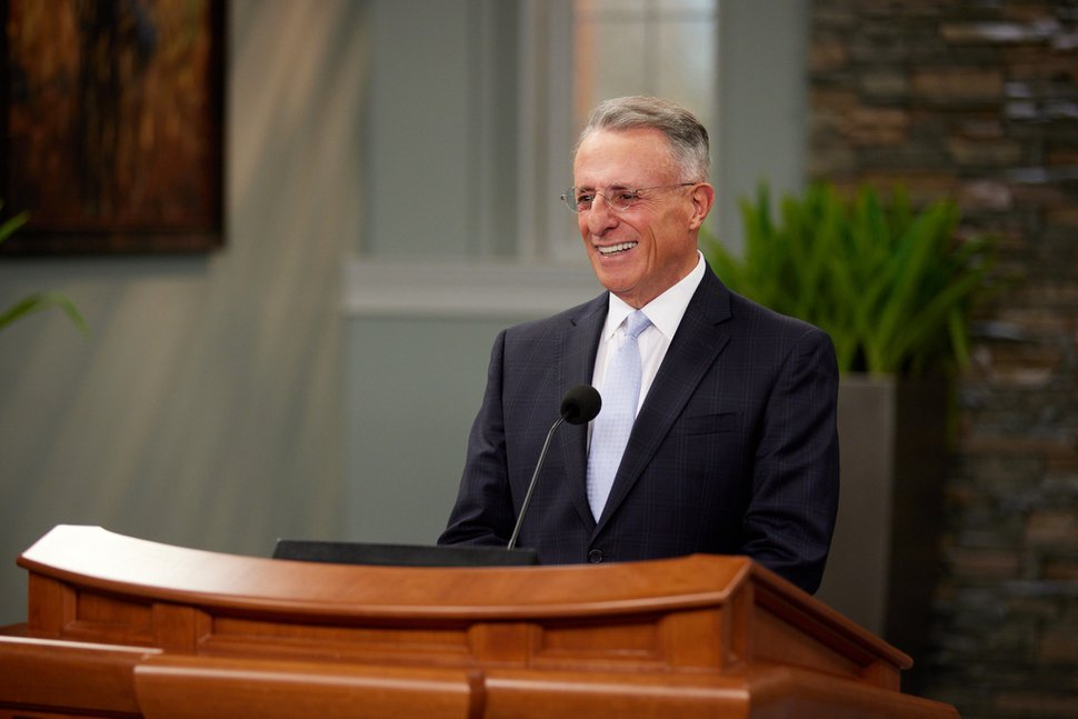 (Courtesy photo of The Church of Jesus Christ of Latter-day Saints) Ulisses Soares of the Quorum of the Twelve Apostles speaks from a recording studio on Temple Square in Salt Lake City to a Texas-based religious freedom conference on Oct. 28, 2020.