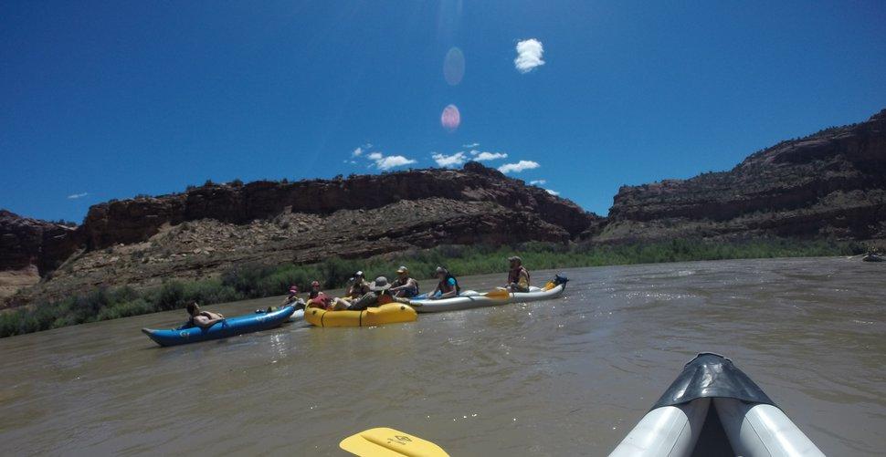 Nate Carlisle | The Salt Lake Tribune River runners in inflatable