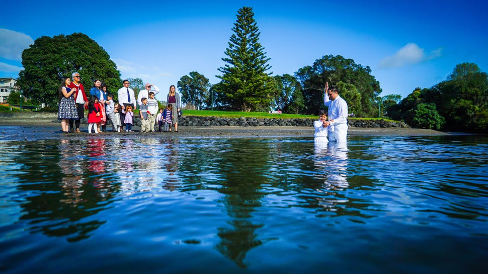 (Photo courtesy of The Church of Jesus Christ of Latter-day Saints) A Latter-day Saint baptism in New Zealand.