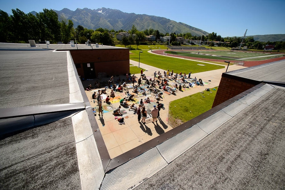 (Trent Nelson | The Salt Lake Tribune) Alta High School's annual Chalk the Walk event, a school tradition since 1985 in which students recreate famous art works in sidewalk chalk, Friday May 25, 2018.