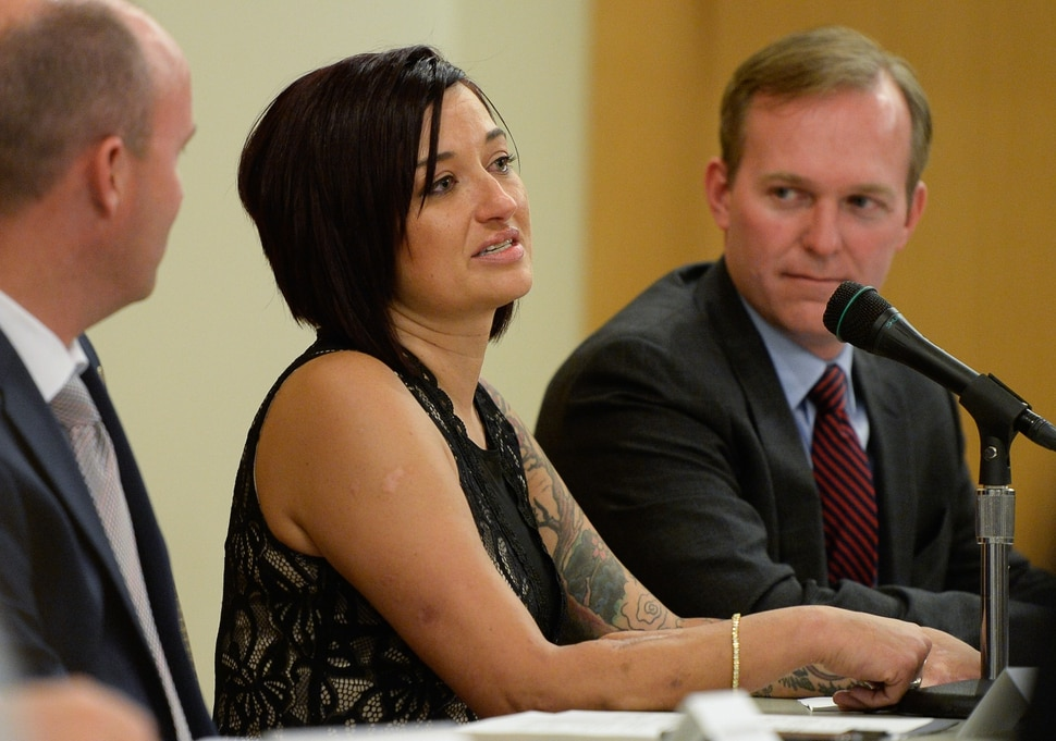 (Francisco Kjolseth | The Salt Lake Tribune) Leadership and partners of Operation Rio Grande meet at The Gateway on Tuesday, Aug. 14, 2018, to report on the first year of Operation Rio Grande, as Amy Daeschel tells her story of ending up homeless and being helped back to a better life by the program which launched Aug. 14, 2017. Agency leadership and staff will reported on the three phases of the operation which focused on improving public safety, drug and mental health treatment and employment.