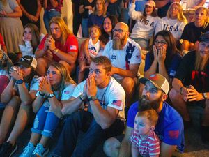 (Trent Nelson  |  The Salt Lake Tribune) Family and friends cheer as USA swimming Rhyan White places fourth in the 200-meter backstroke at the 2020 Summer Olympics on Friday, July 30, 2021.