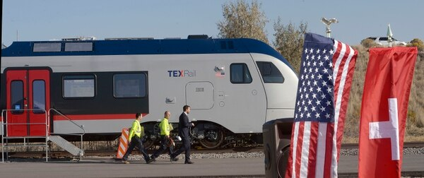 (Al Hartmann | The Salt Lake Tribune) One of Stadler's new TEXRail trains, near the spot where the company broke ground for a new Stadler plant at 100 S. 5600 W. in Salt Lake City on Friday, Oct. 13. Stadler US is an affiliate of a Swiss railcar-manufacturing company. The project has received a tax incentive from the Governor's Office of Economic Development, which anticipates it will result in the creation of dozens of new, high-paying jobs.