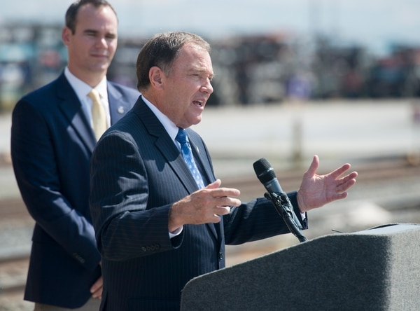 (Rick Egan   The Salt Lake Tribune) Gov. Gary Herbert talks about the world's largest steam locomotive that will be coming to Utah in May, to celebrate the golden spike's 150 year anniversary, at the Union Pacific Intermodal Facility, Thursday, Aug. 16, 2018.