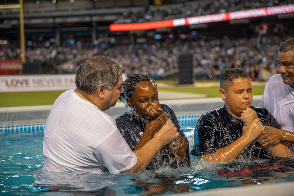 (Courtesy photo) A highlight of the annual convention of Jehovah's Witnesses is the live baptism that usually happens during the Saturday program. In 2020, local arrangements will be made to baptize all candidates in a dignified and safe environment, streaming it live to family friends.