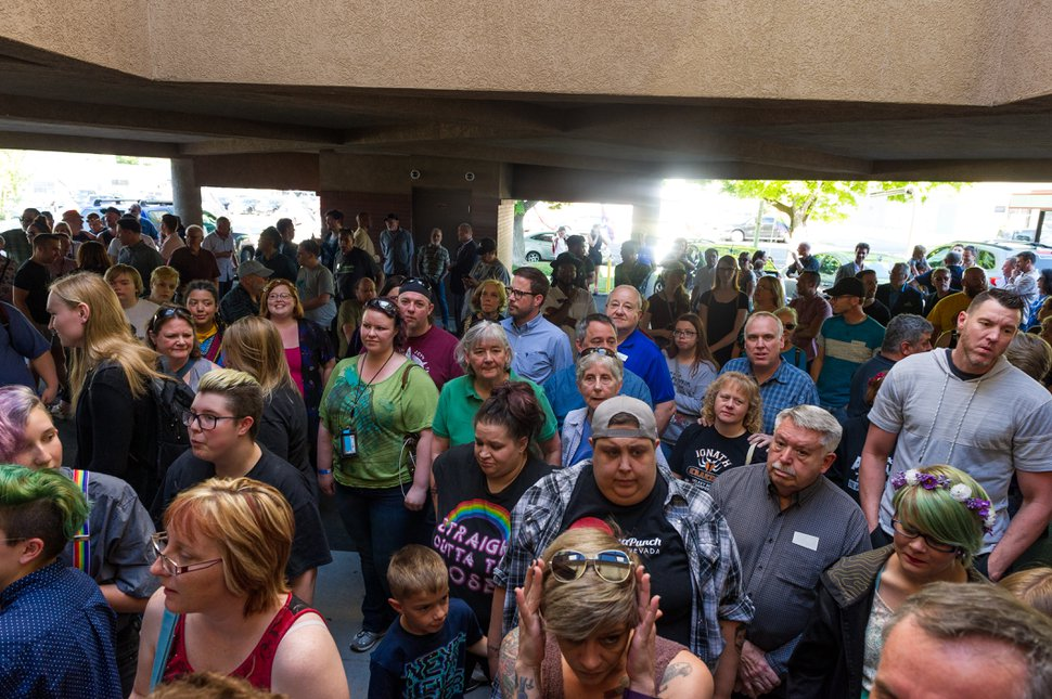 (Alex Gallivan | Special to the Tribune) Hundreds of people line up outside to tour The Utah Pride Center during the Grand Opening at its new location at 1380 S. Main St., Saturday, May 19, 2018.