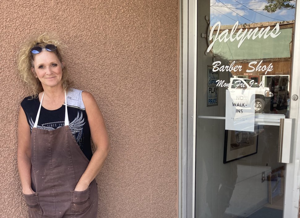 (Leia Larsen | The Salt Lake Tribune) Jalynn Snider stands outside her Main Street salon in Helper on June 12, 2020. Although Snider is used to clients from all over the world, she's currently only booking appointments with locals because she's worried about catching and spreading the coronavirus.