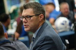 (Francisco Kjolseth  |  The Salt Lake Tribune)  BYU offensive coordinator Jeff Grimes speaks with the press during BYU football media day at the BYU Broadcasting Building in Provo on Tuesday, June 18, 2019.