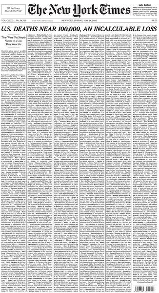 U.S. deaths near 100,000, an incalculable loss   The Salt Lake Tribune