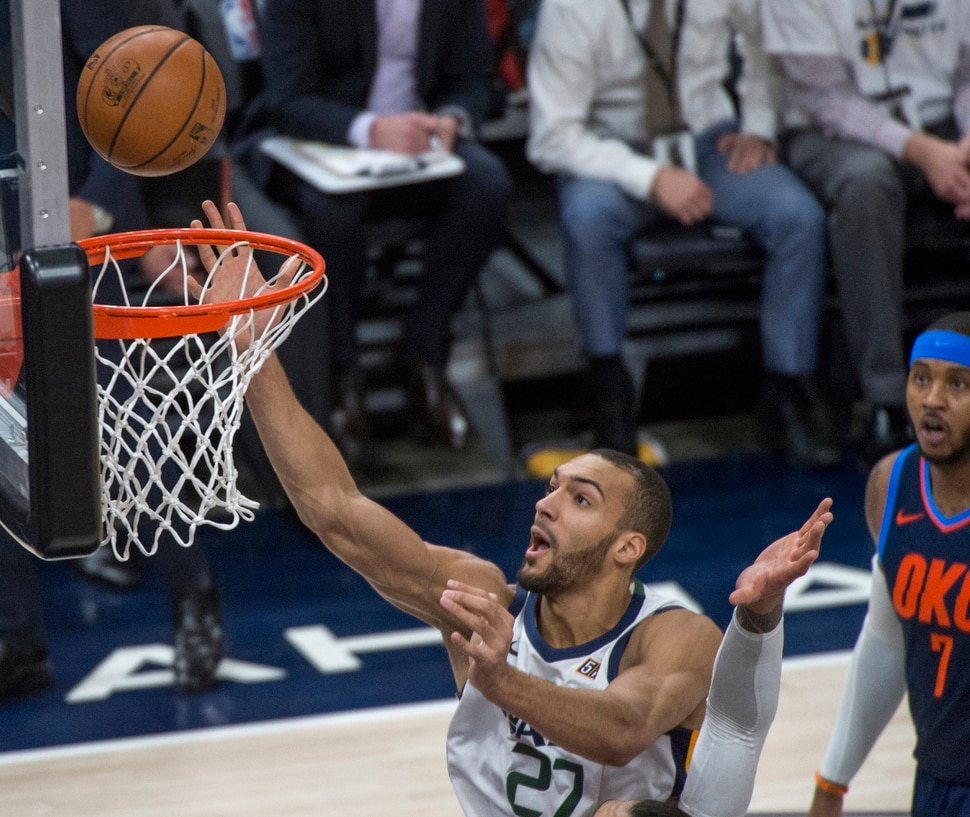 (Rick Egan | The Salt Lake Tribune) Utah Jazz center Rudy Gobert (27) goes in for a shot, in game 4, NBA playoff action between Utah Jazz and Oklahoma City Thunder, in Salt Lake City, Monday April 23, 2018.