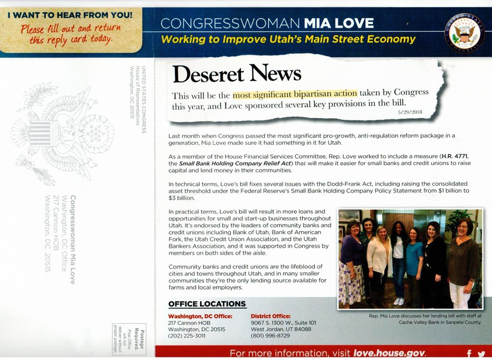 This mailer by Rep. Mia Love was criticized by the Deseret News as creating the false impression that she was being praised by its editorial board instead of guest columnists.