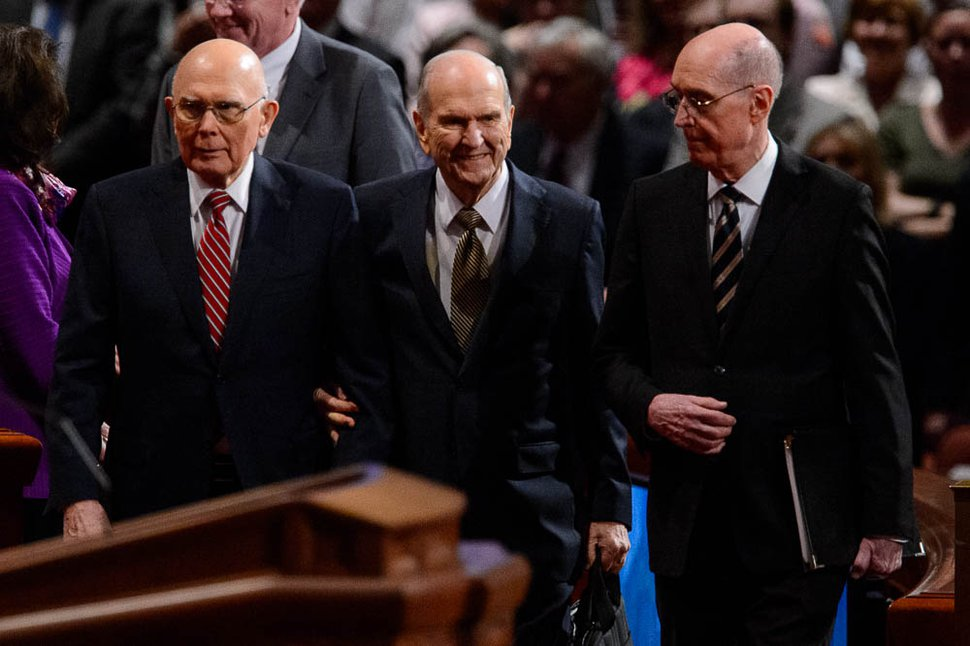 (Trent Nelson | The Salt Lake Tribune) President Dallin H. Oaks, President Russell M. Nelson, and President Henry B. Eyring arrive at the afternoon session of the189th Annual General Conference of The Church of Jesus Christ of Latter-day Saints in Salt Lake City on Sunday, April 7, 2019.