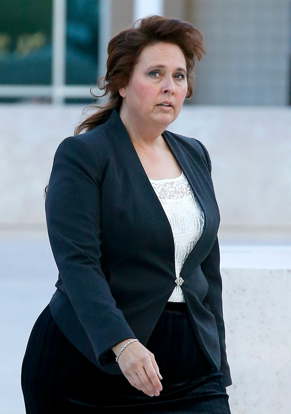 Charlene Jeffs, the former sister-in-law of Warren Jeffs, church leader of the Fundamentalist Church of Jesus Christ of Latter Day Saints sect, arrives to testify at the Sandra Day O'Connor United States District Court in the federal civil rights trial against two polygamous towns on the Arizona-Utah line Wednesday, Jan. 27, 2016, in Phoenix. Charlene Jeffs is the estranged wife of Lyle Jeffs, Warren Jeffs' brother. (AP Photo/Ross D. Franklin)