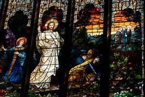(Francisco Kjolseth  | The Salt Lake Tribune) Women were the first to see Christ after he was resurrected, and that story is represented on the walls and stained glass within the Cathedral of the Madeleine in Salt Lake City as seen on Tuesday, March 30, 2021.
