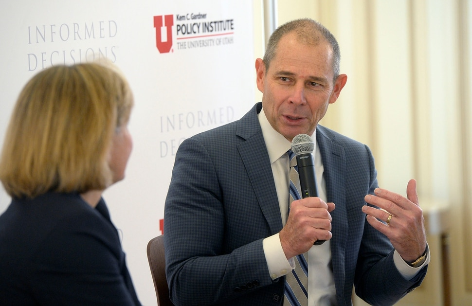 (Al Hartmann | The Salt Lake Tribune) Congressman elect John Curtis talks with moderator Natalie Gochnour, left, at University of Utah's Kem C. Gardner Policy Institute in Salt Lake City Wednesday Nov. 8 the day after winning the race for the 3rd congressional district .