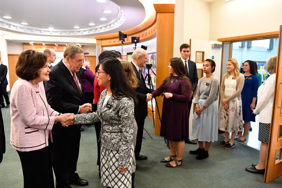 (Courtesy LDS Church) LDS Church President Russell M. Nelson, wife Wendy, and apostle Jeffrey R. Holland and wife Patricia join in greeting Mormon leaders and missionaries in London on Thursday.