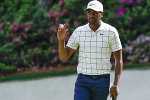 Tony Finau reacts after his putt on the 13th hole during the third round for the Masters golf tournament Saturday, April 13, 2019, in Augusta, Ga. (AP Photo/David J. Phillip)