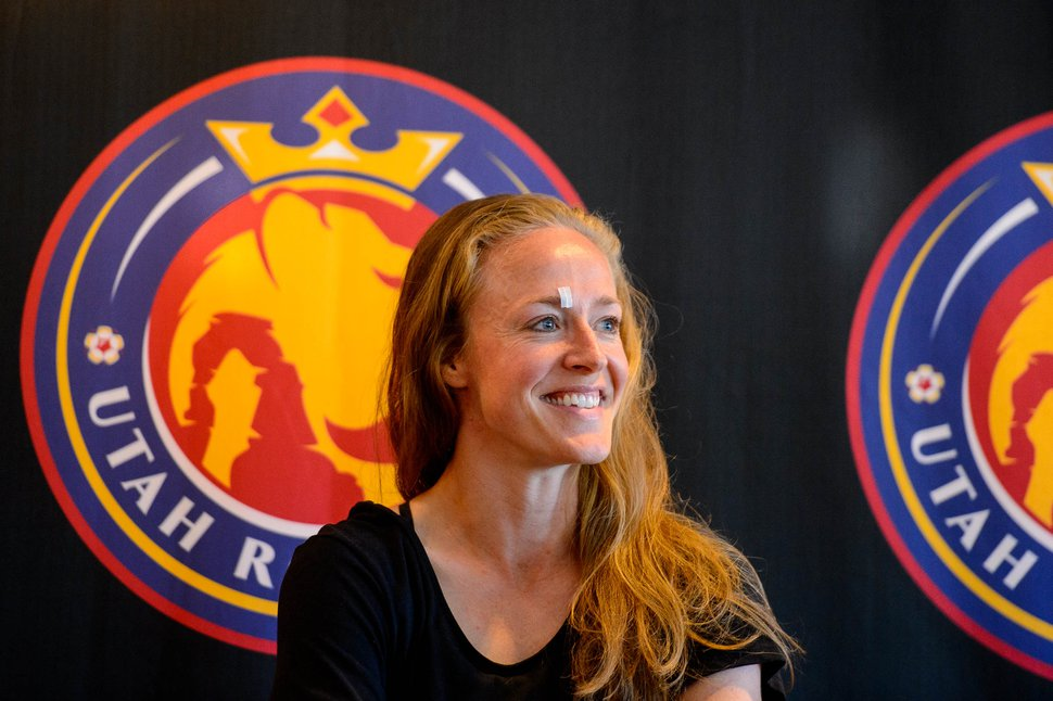 (Trent Nelson | Tribune file photo) Utah Royals defender Becky Sauerbrunn speaks about her World Cup experiences at a news conference in Sandy on July 17, 2019.