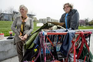 (Steve Griffin  |  The Salt Lake Tribune) Katherine and Ronald Barrett Jr. talk about being homeless and the difficultly they have trying to find a place to sleep, including on the grounds of the Salt Lake City Main Library, in Salt Lake City Monday April 16, 2018.