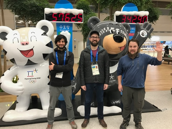 The Tribune's Olympics coverage team of Christopher Kamrani, from left, Aaron Falk and Chris Detrick pose for a photo in the airport in Seoul, South Korea.