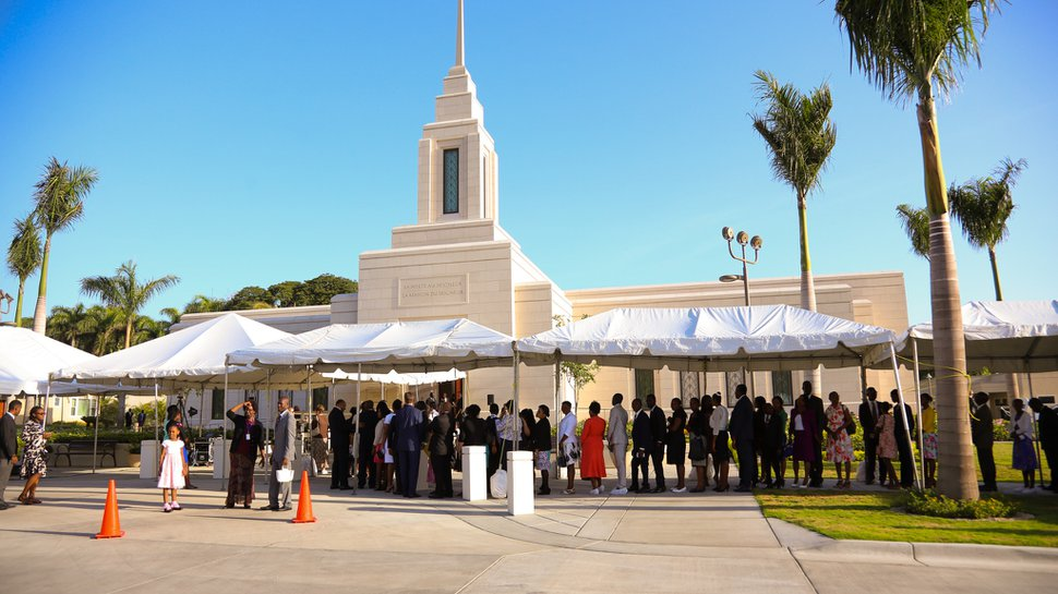 (Photo courtesy of The Church of Jesus Christ of Latter-day Saints) Latter-day Saints are ready to attend the Port-Au-Prince Temple dedication. Apostle David A. Bednar dedicated Haiti's first temple on Sept. 1, 2019.