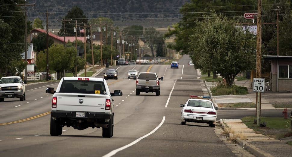 (Leah Hogsten | The Salt Lake Tribune) Parked on the shoulder of Highway 24, Wayne County sheriff's