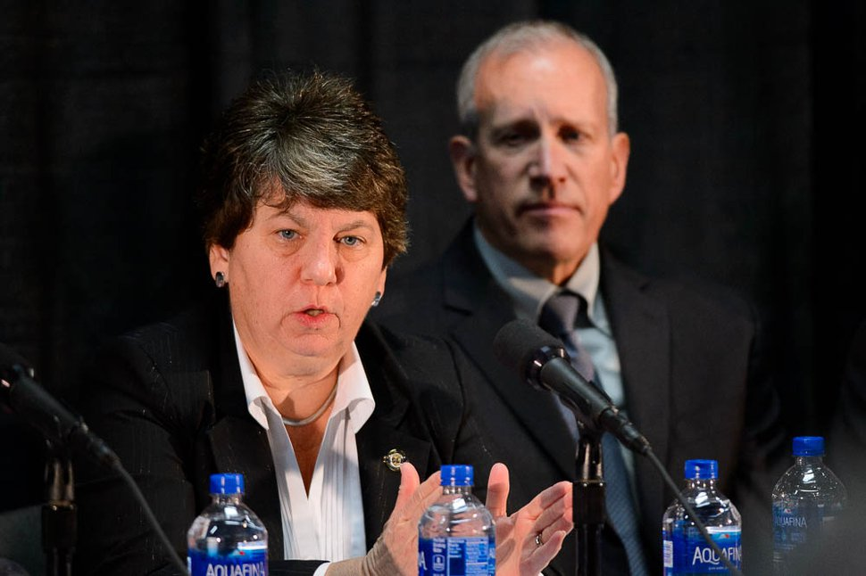 (Trent Nelson   The Salt Lake Tribune) Sue Riseling speaks at a news conference presenting the findings of a review of the Lauren McCluskey case, in Salt Lake City on Wednesday Dec. 19, 2018.