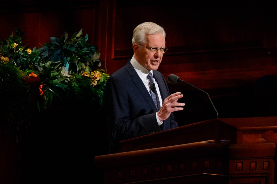 (Trent Nelson | The Salt Lake Tribune) Elder D. Todd Christofferson speaks during the morning session of the189th Annual General Conference of The Church of Jesus Christ of Latter-day Saints in Salt Lake City on Sunday, April 7, 2019.