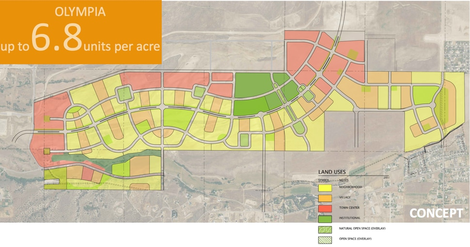 (Photo courtesy of Doug Young / Olympia Hills) Map showing land usage in the new version of Olympia Hills, a 931-acre, high-density development proposed west of Herriman in southwest Salt Lake County. Densities in new plans for the development are now at seven housing units per acre, down from estimates ranging from nine to 37 per acre in earlier versions.