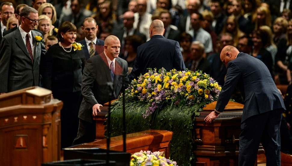 (Steve Griffin | The Salt Lake Tribune) Ann M. Dibb follows the casket of her father, LDS Church President Thomas S. Monson, into the Conference Center during funeral services in Salt Lake City Friday January 12, 2018.