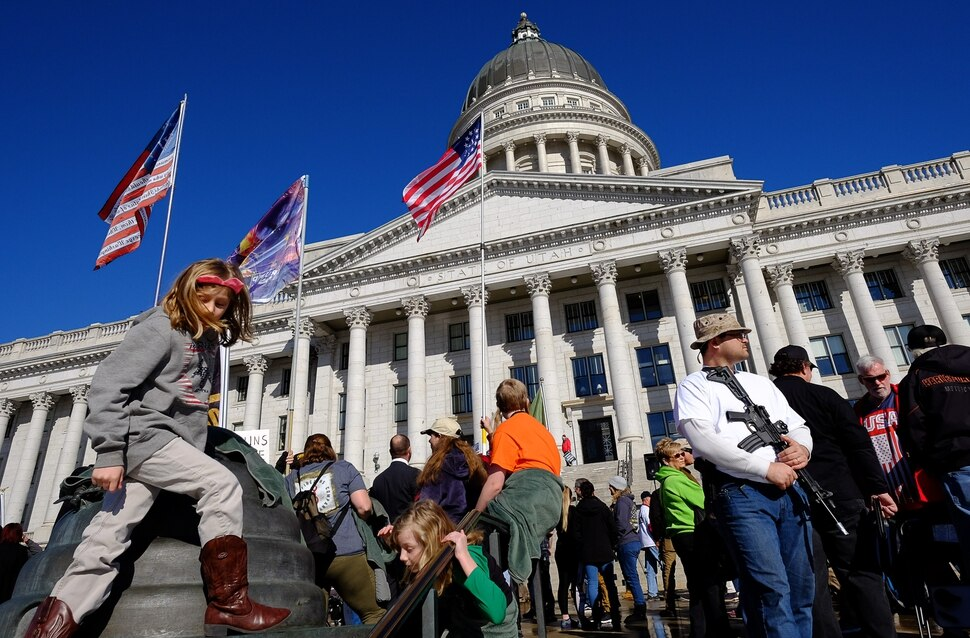 (Francisco Kjolseth | The Salt Lake Tribune) Hundreds of pro gun proponents gather at the Utah Capitol in Salt Lake City on Saturday, Feb. 8, 2020, in response to recent proposals from legislators, including red-flag laws, universal background checks and the elimination of private transfers.