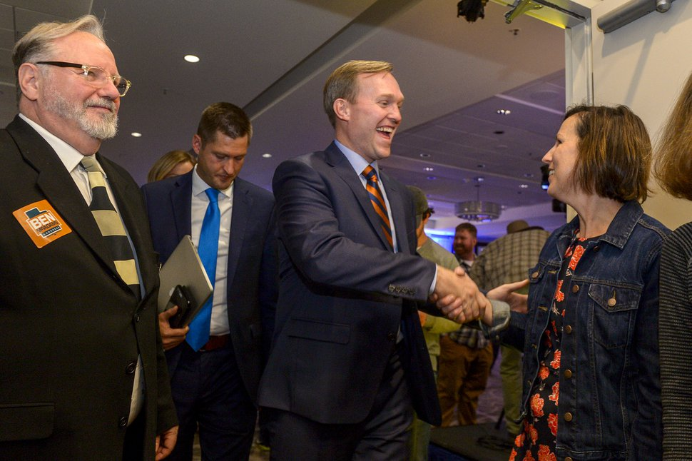 (Leah Hogsten | Tribune file photo) Utah's 4th Congressional District Democratic challenger, Salt Lake County Mayor Ben McAdams is congratulated on a race too close to call at the Utah Democratic election night headquarters at the Radisson Hotel Salt Lake City, Tuesday, Nov. 6, 2018. After two weeks of counting, McAdams was declared the winner over Republican Rep. Mia Love.