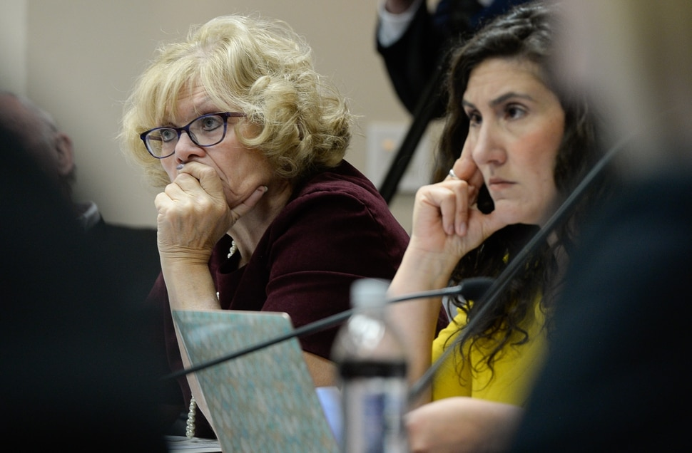 (Francisco Kjolseth | The Salt Lake Tribune) Salt Lake County Council members Ann Granato, left, and Shireen Ghorbani listen as mayors from Herriman, Riverton and Bluffdale, go before the council on Tuesday, Jan. 28, 2020, to express their opposition to Olympia Hills, a high-density development proposed outside of Herriman.