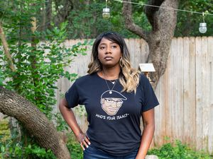 (Cindy Elizabeth   The New York Times) Elaina Cary-Fehr at her home in Austin, Texas, on Aug. 5, 2021. Cary-Fehr's father, Isaac, was transferred to a long-term care facility after being hospitalized with COVID-19 in June.