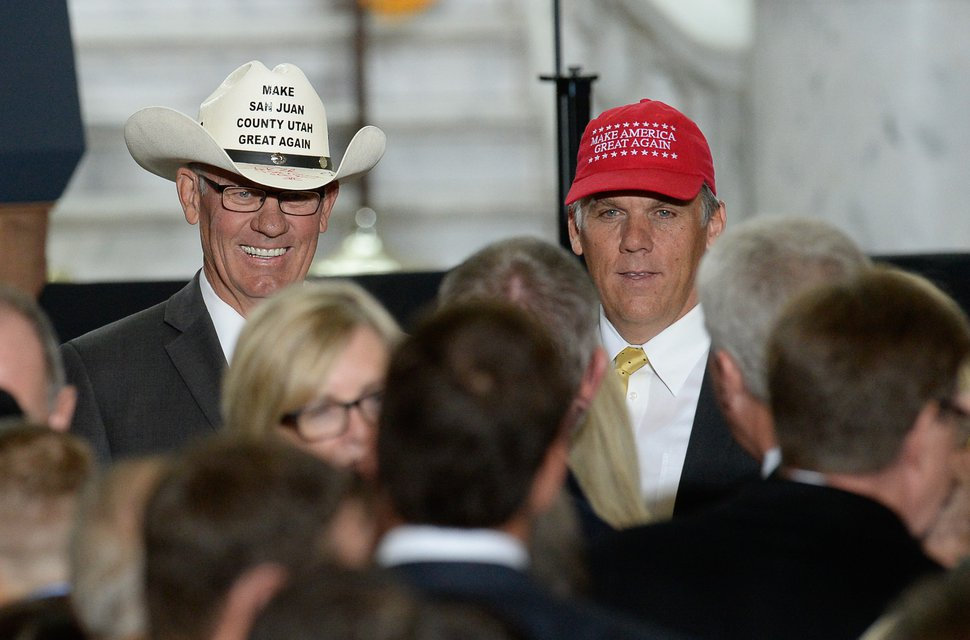 (Francisco Kjolseth | The Salt Lake Tribune) Bruce Adams, left, Chairman of the San Juan County Commission and San Juan County Commissioner Phil Lyman, convicted of leading a 2014 protest ride in Recapture Canyon pose for photographs at the Utah Capitol on Monday, Dec. 4, 2017. U.S. President Donald Trump is scheduled to arrive on Monday, Dec. 4, 2017. President Trump will be joined by Sen. Orrin Hatch and Interior Secretary Ryan Zinke to sign a presidential proclamation to shrink Bears Ears and Grand Staircase-Escalante national monuments.