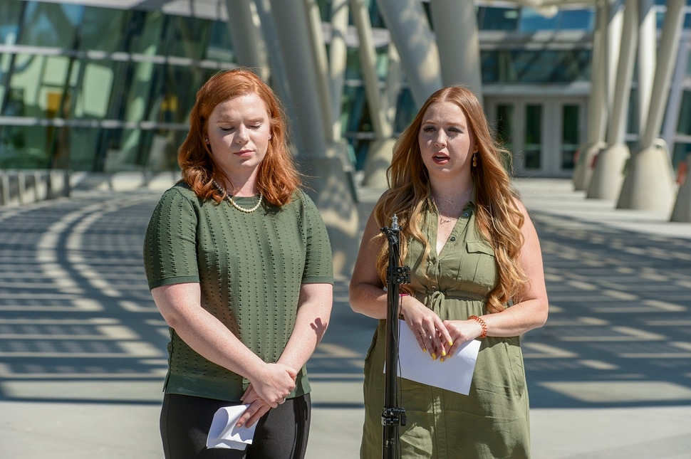 (Leah Hogsten | The Salt Lake Tribune) Things aren't adding up in this story and we just want her home, said Ashley Fine and Kennedy Stoner, close friends of missing person Mackenzie Lueck during a press conference outside the Salt Lake City Police Department on Sunday, June 23, 2019. Lueck has been missing since about 1 a.m. Monday, June 17 after her airline flight landed at Salt Lake City International Airport. She texted her parents to let them know she made it safe, then got into a Lyft. The driver dropped her off in North Salt Lake, but she hasn't been heard from since. To date, there is no formal search party.