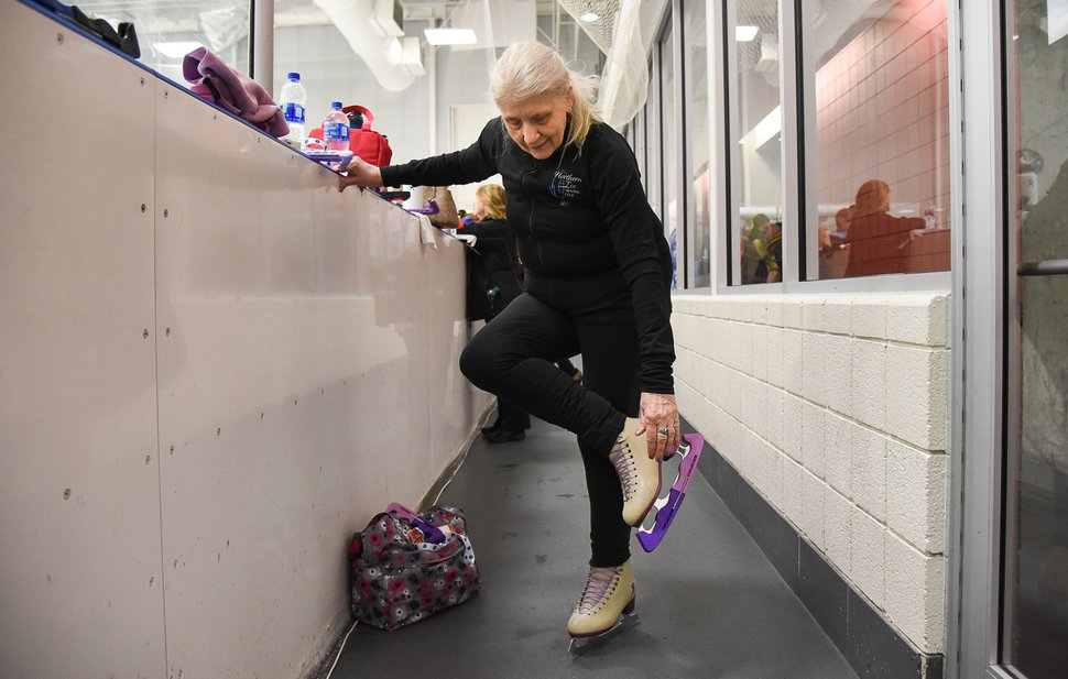 (Francisco Kjolseth | The Salt Lake Tribune) Barb Foley, 71, of Orland Park, gets ready to hit the ice for a practice session as part of the 2019 U.S. Adult Figure Skating Championships, now in its 25th year, being held at the SLC Sports Complex. Over 600 skaters between 21 and 80 will compete April 3-6.