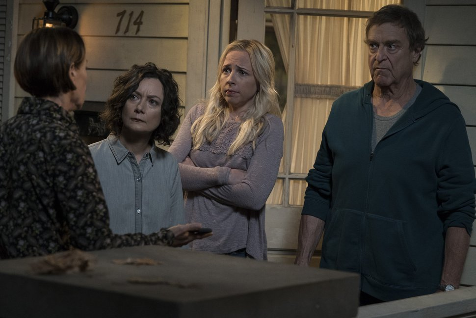 "(Eric McCandless | Courtesy of ABC) Laurie Metcalf, Sara Gilbert, Lecy Goranson and John Goodman in ""The Conners."""
