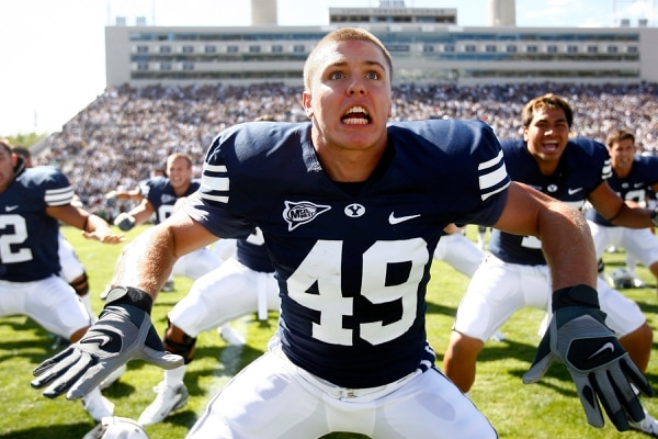 Chris Detrick | The Salt Lake Tribune BYU RB Ryan Folosom does the Haka dance before the start of the game against Arizona at LaVell Edwards Stadium on September 1, 2007.