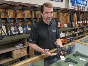 (Rick Egan | The Salt Lake Tribune) Dave Larsen, manager of Doug's Shoot'n Sports in Taylorsville, on Tuesday, March 30, 2021. Larsen said sales at his store last year were the highest of any year since he began working there in 1984. State statistics confirm that 2020 was a banner year for firearms sales.