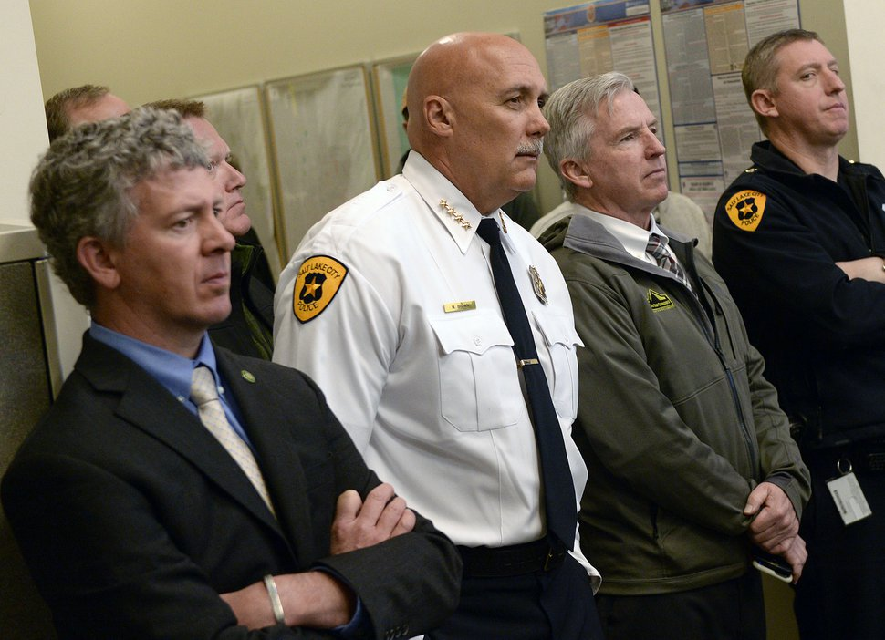 (Al Hartmann | The Salt Lake Tribune) Police chief Mike Brown, center, listens to Mayor Jackie Biskupski's outline for next year's city budget at a press conference in Salt Lake City Monday April 30. She requested more money for more more street repairs and maintainence and more police officers on the street.