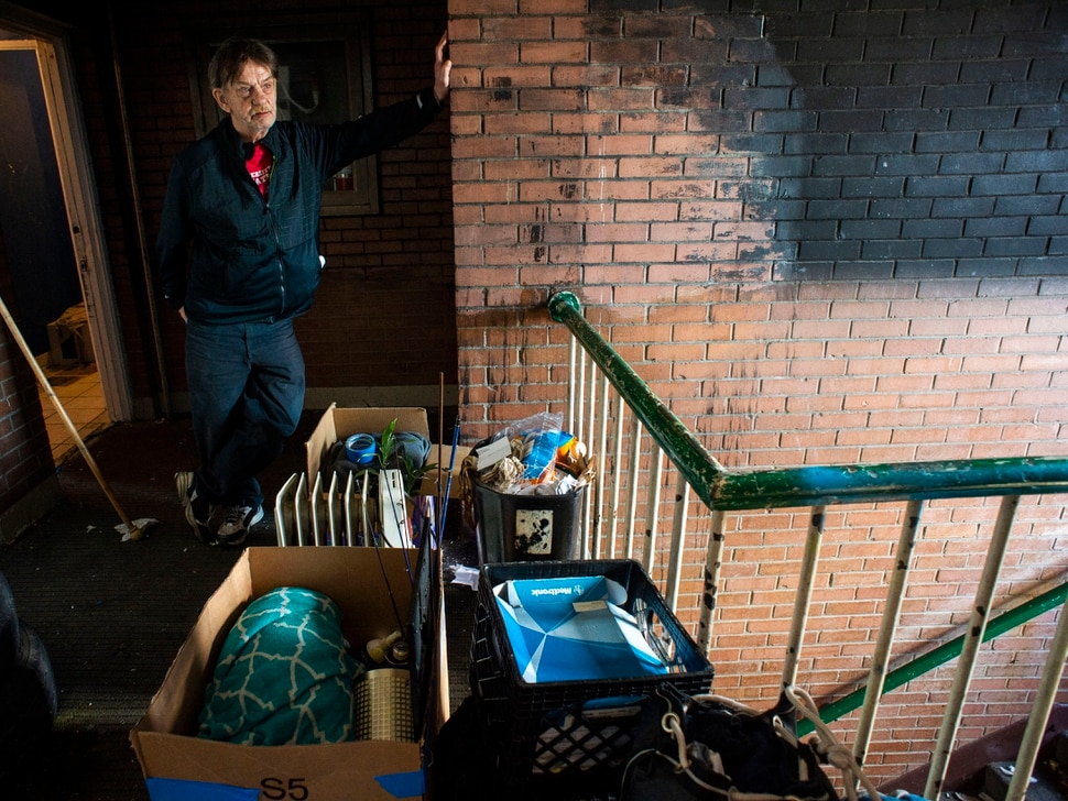 (Rick Egan | The Salt Lake Tribune) Dan Marcotte, stands with his belongings outside his apartment, while he tries to figure out where he will live, less than an hour before the deadline to leave the Georgia apartment complex, Saturday, Feb. 16. 2019