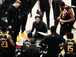 (Francisco Kjolseth | The Salt Lake Tribune) Utah Jazz coach Quin Snyder rallies the team during their game against the Portland Trail Blazers, at Vivint Smart Home Arena, on Wednesday, May 12, 2021.